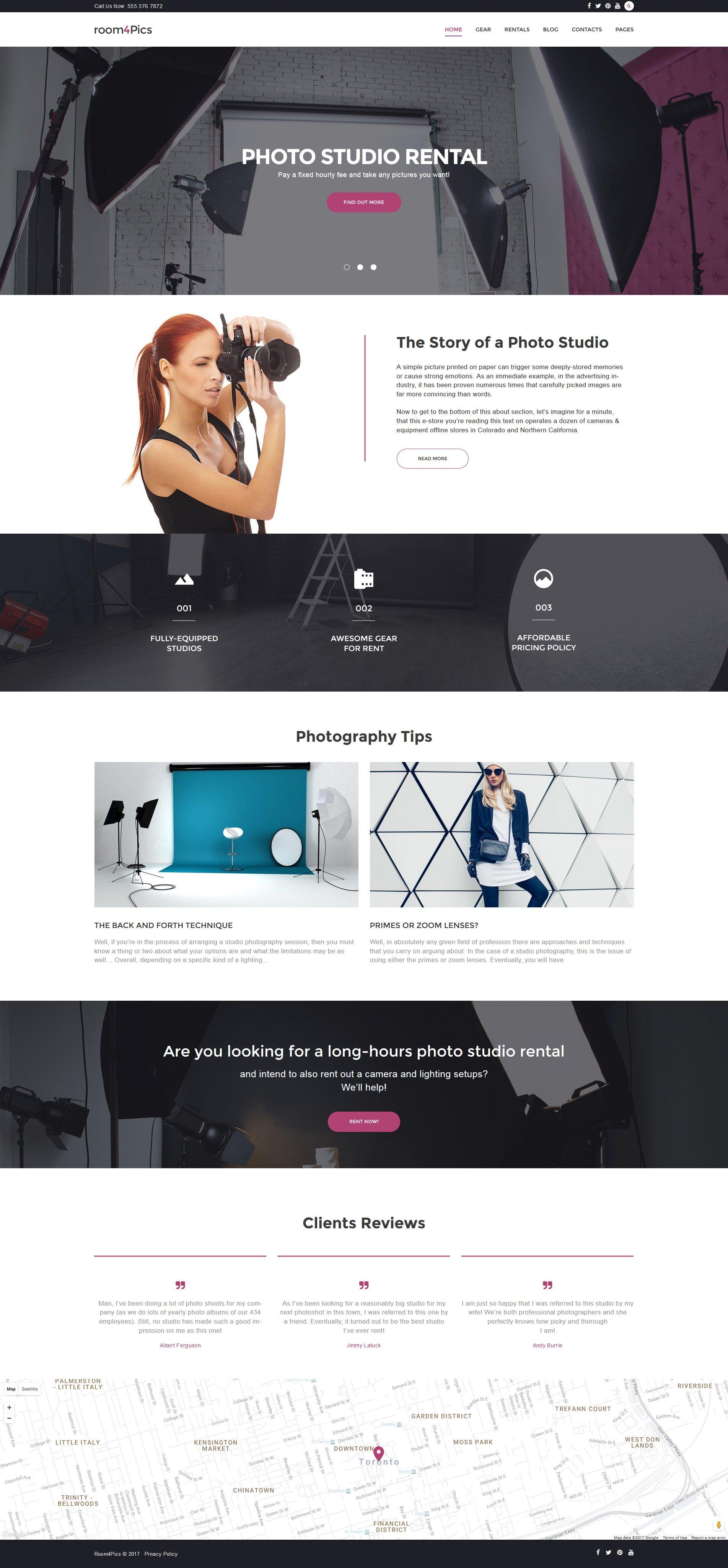 """Room4Pics - Photo Studio Rental"" - адаптивний WordPress шаблон №59025 - скріншот"