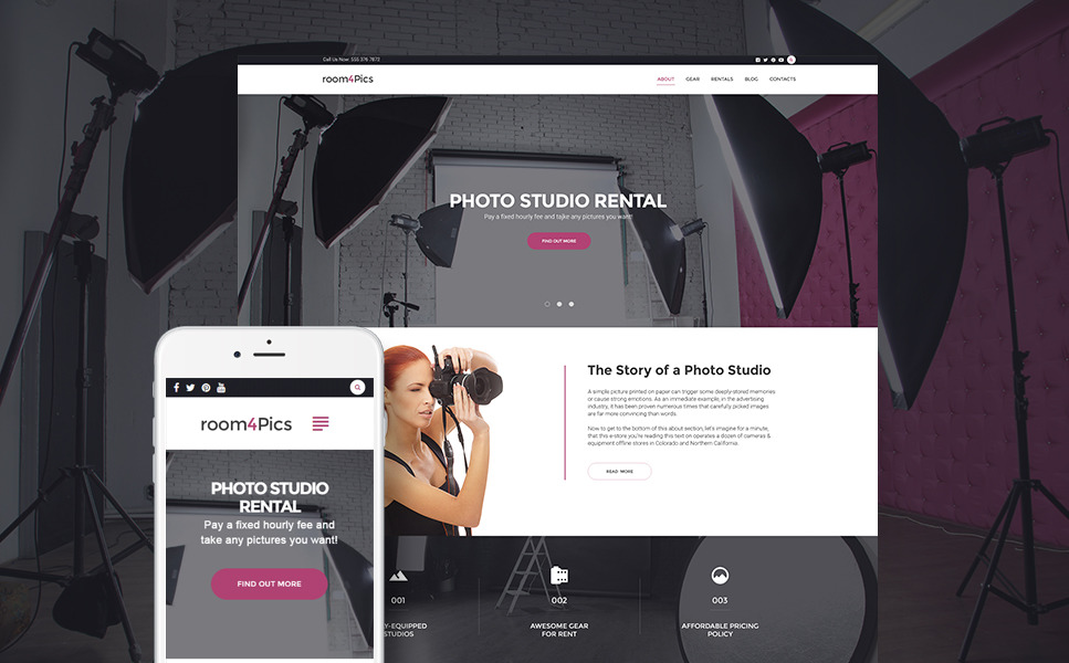 Room4Pics - Photo Studio Rental WordPress Theme New Screenshots BIG