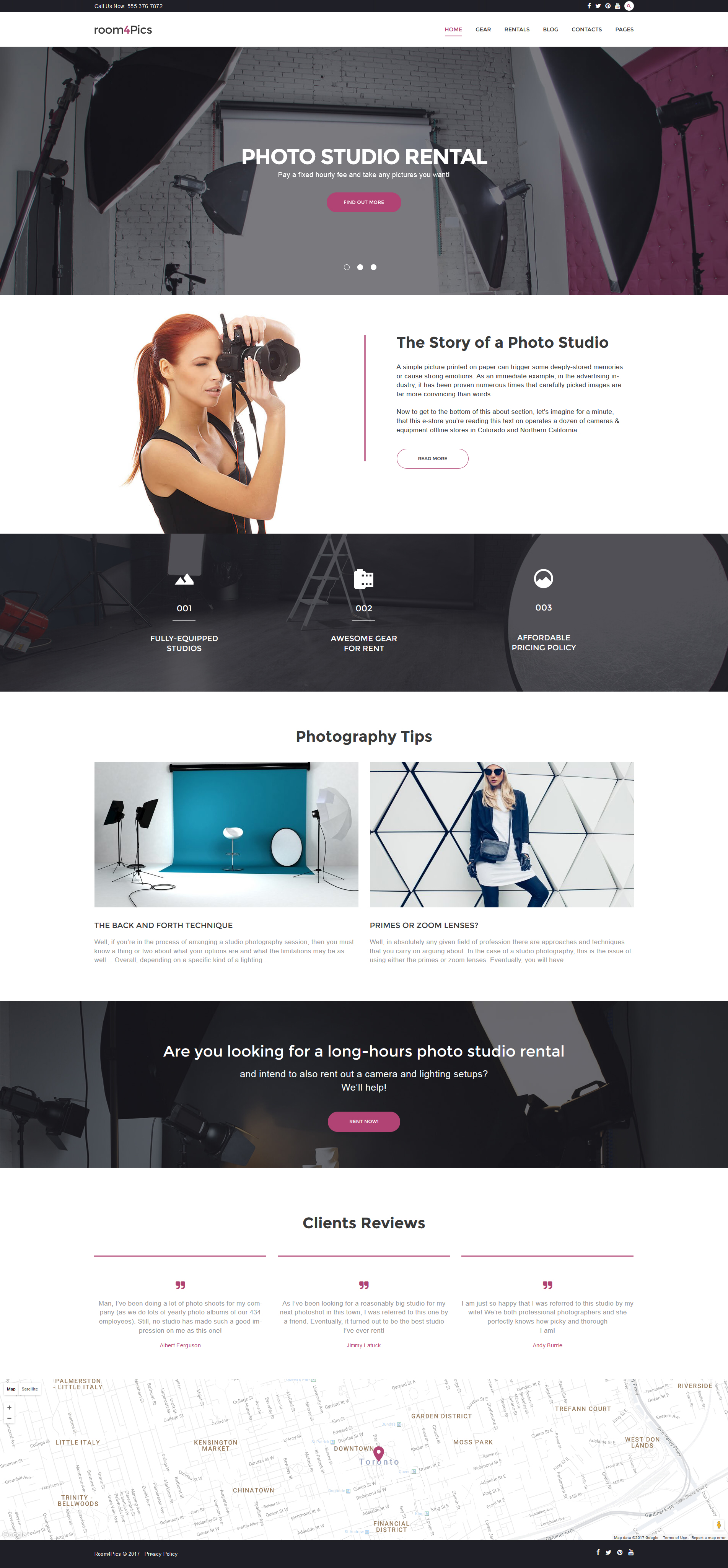 Room4Pics - Photo Studio Rental WordPress Theme