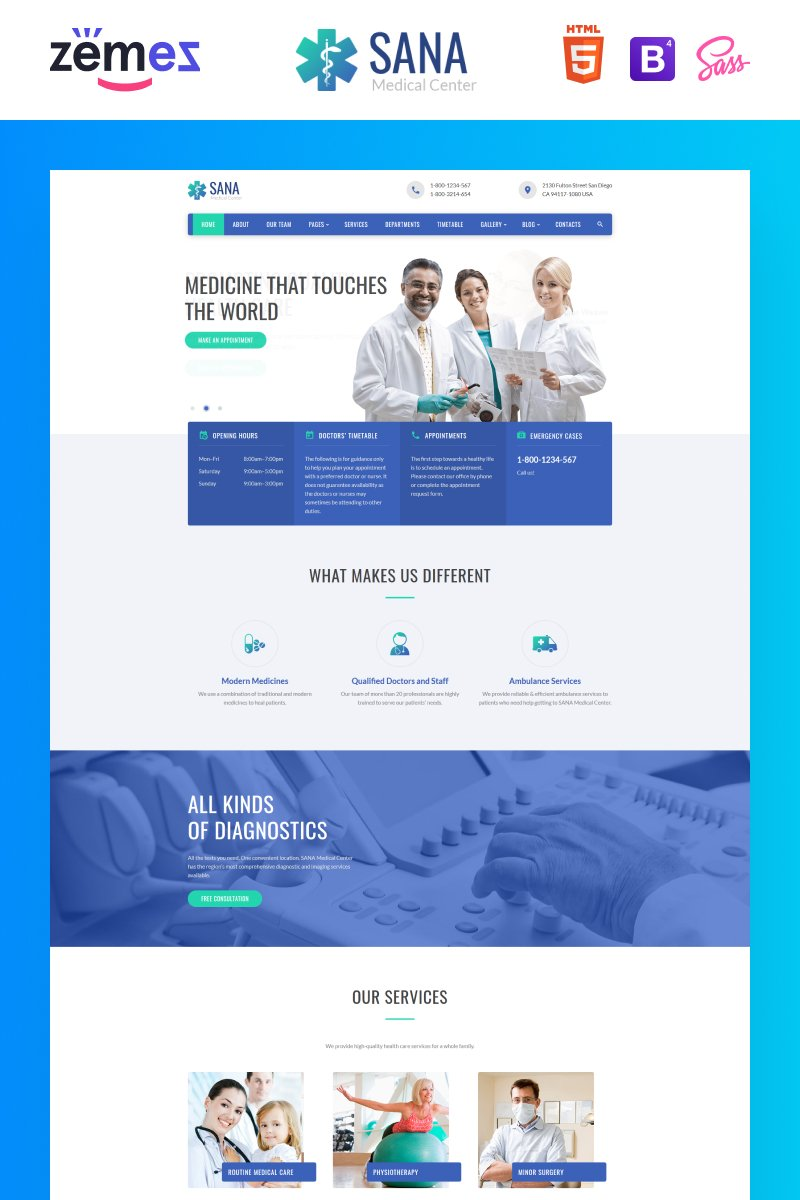 Sana - Medical Clean Responsive Website Template