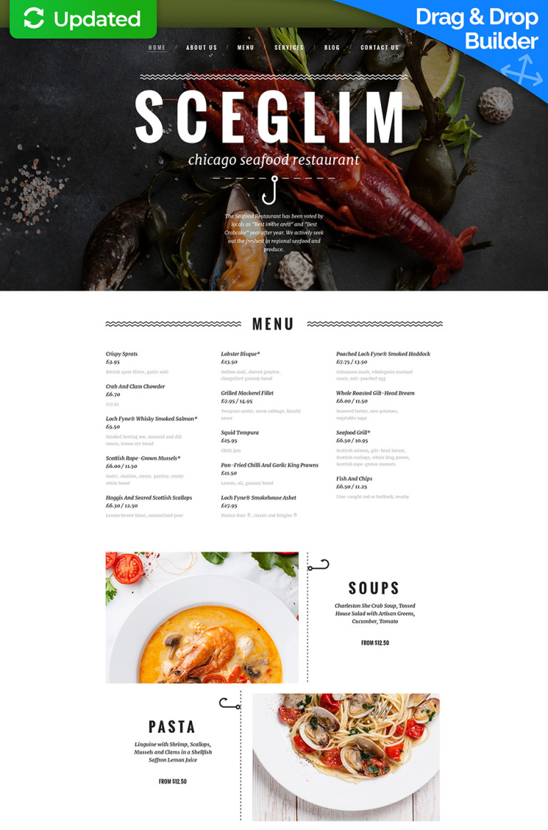 Seafood Restaurant Responsive Moto CMS 3 Template New Screenshots BIG