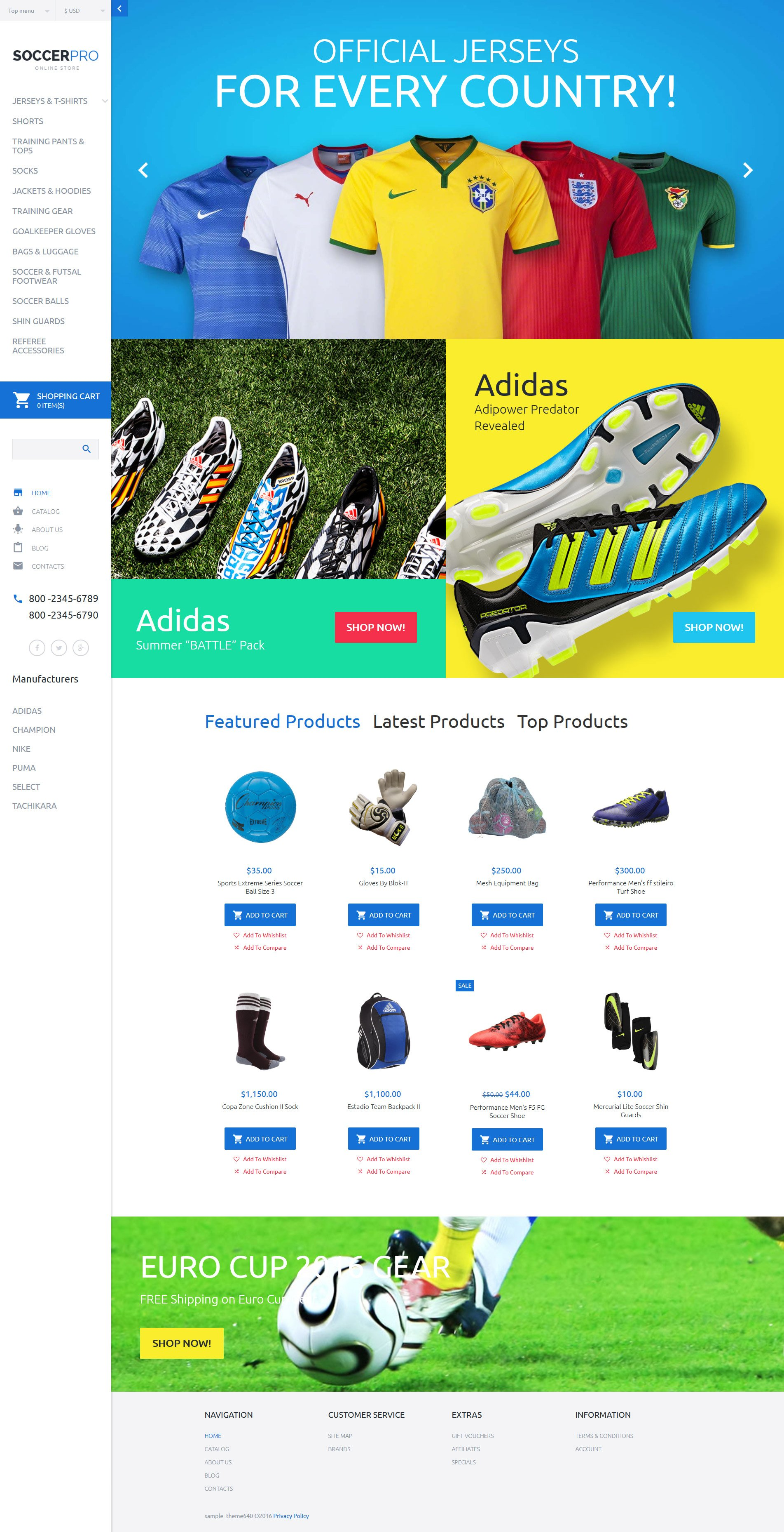 """""""SoccerPRO"""" VirtueMart Template №59031 - screenshot"""