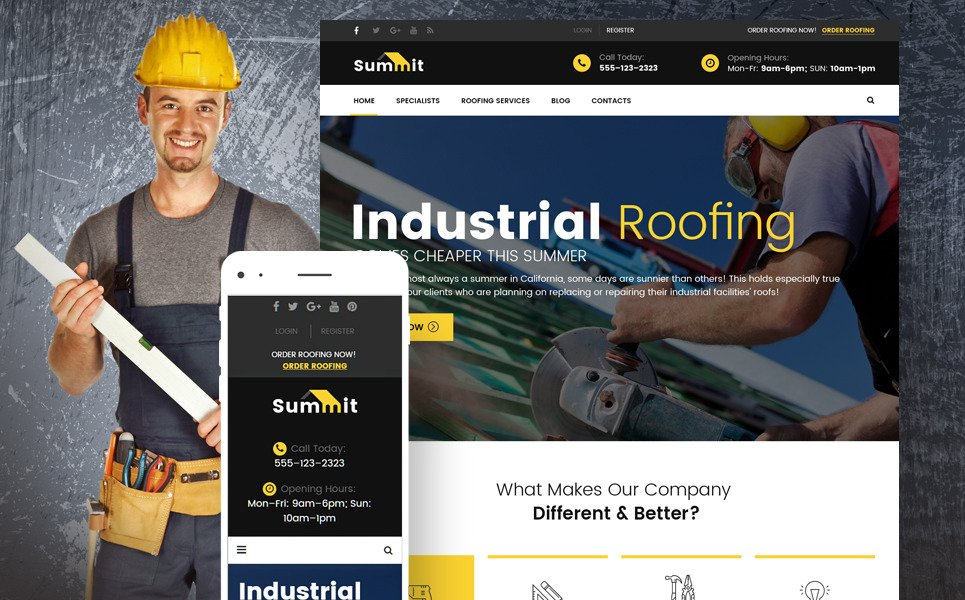 Summit - Roofing Responsive WordPress Theme New Screenshots BIG