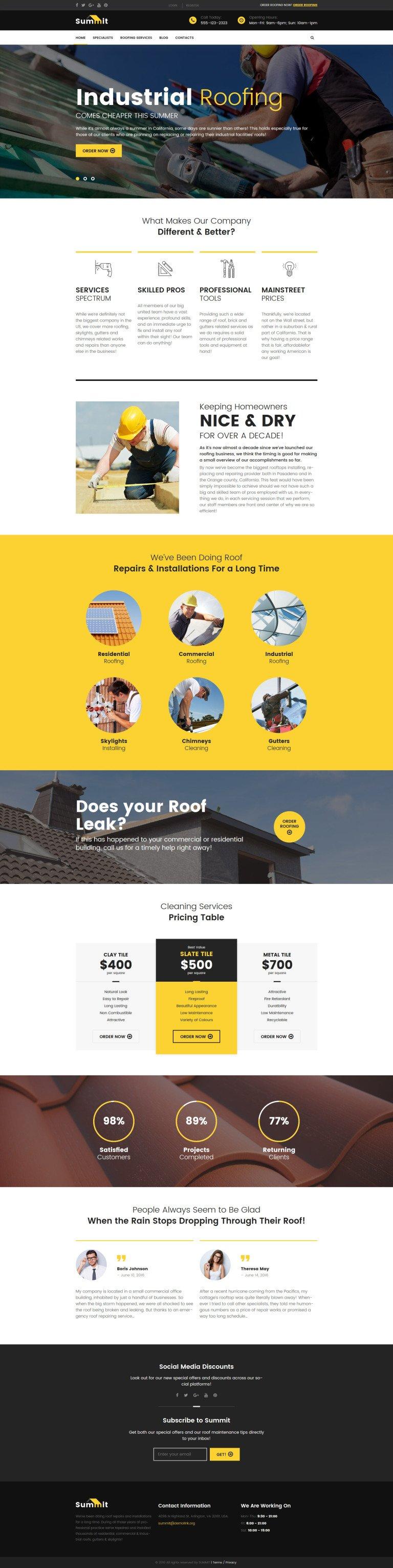 Summit - Roofing Responsive WordPress Theme New Screenshots BIG