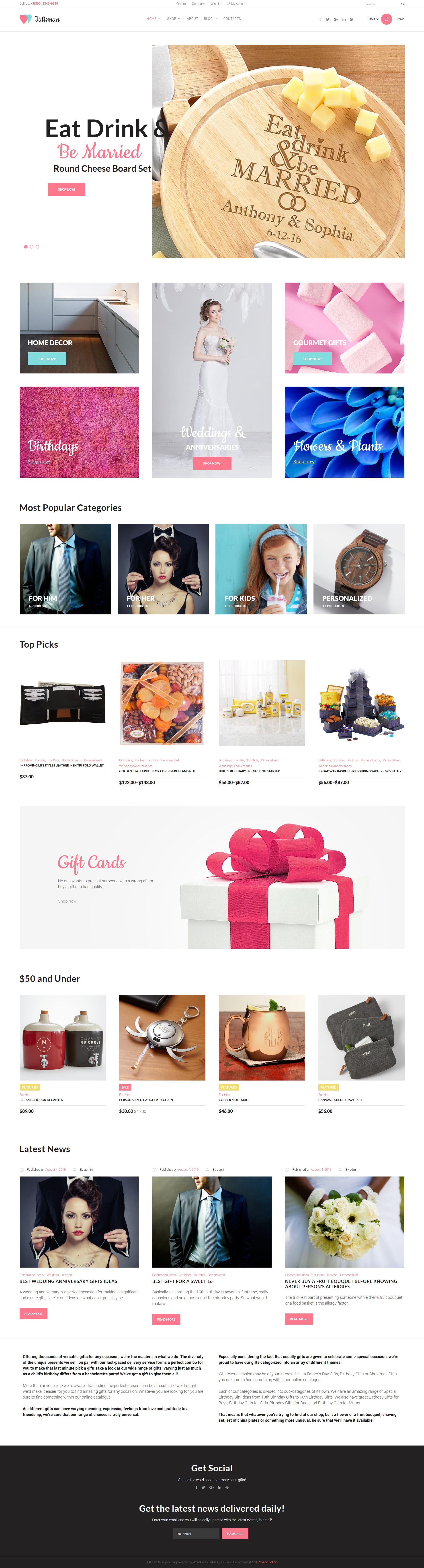Talisman - Gifts Store Responsive WooCommerce Theme - screenshot