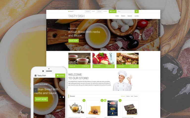Tasty Dish OpenCart Template New Screenshots BIG
