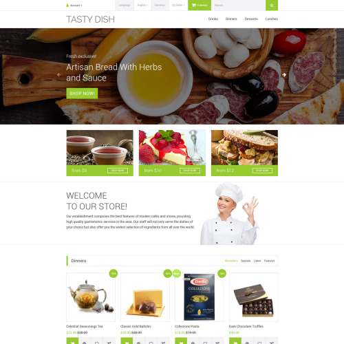 Tasty Dish - OpenCart Template based on Bootstrap