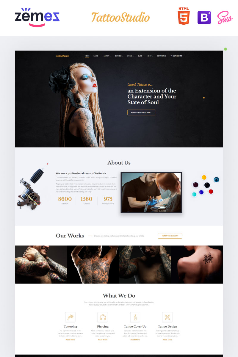 tattoo salon responsive website template 59091. Black Bedroom Furniture Sets. Home Design Ideas