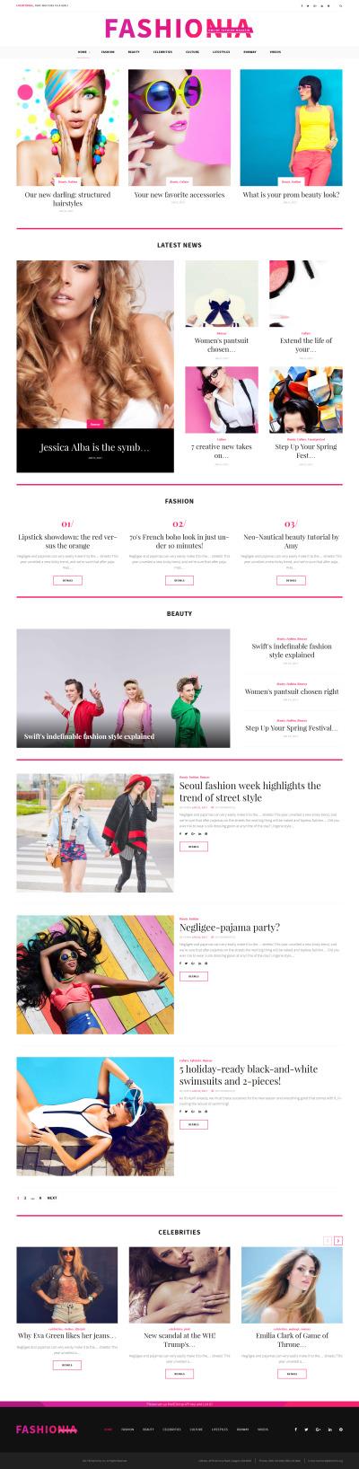 Fashionia - Online Fashion Magazine Responsive WPML ready Plantilla de WordPress #59028