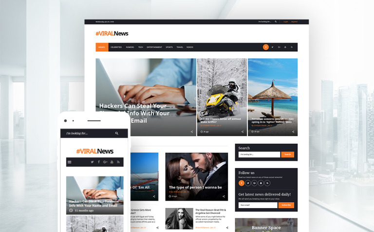 Tema de WordPress #59037 para Sitio de Revistas