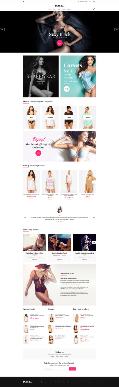 Tema WooCommerce para Sitio de Lencería #59039