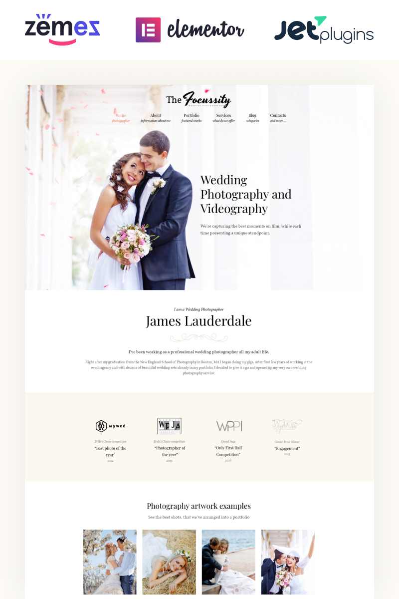 "Tema WordPress Responsive #59049 ""Focussity - Fotografia di matrimonio"""