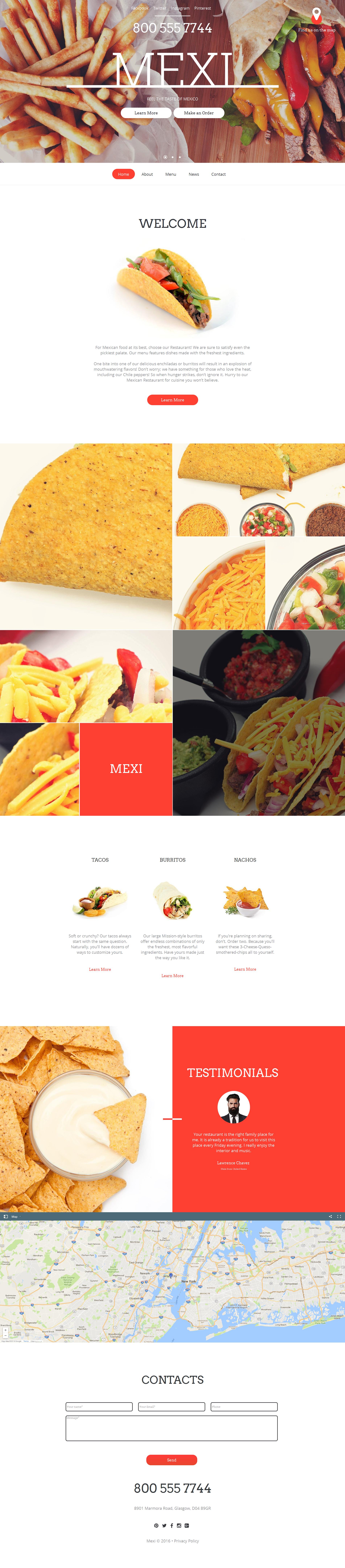 Template Moto CMS HTML para Sites de Restaurante Mexicano №59081