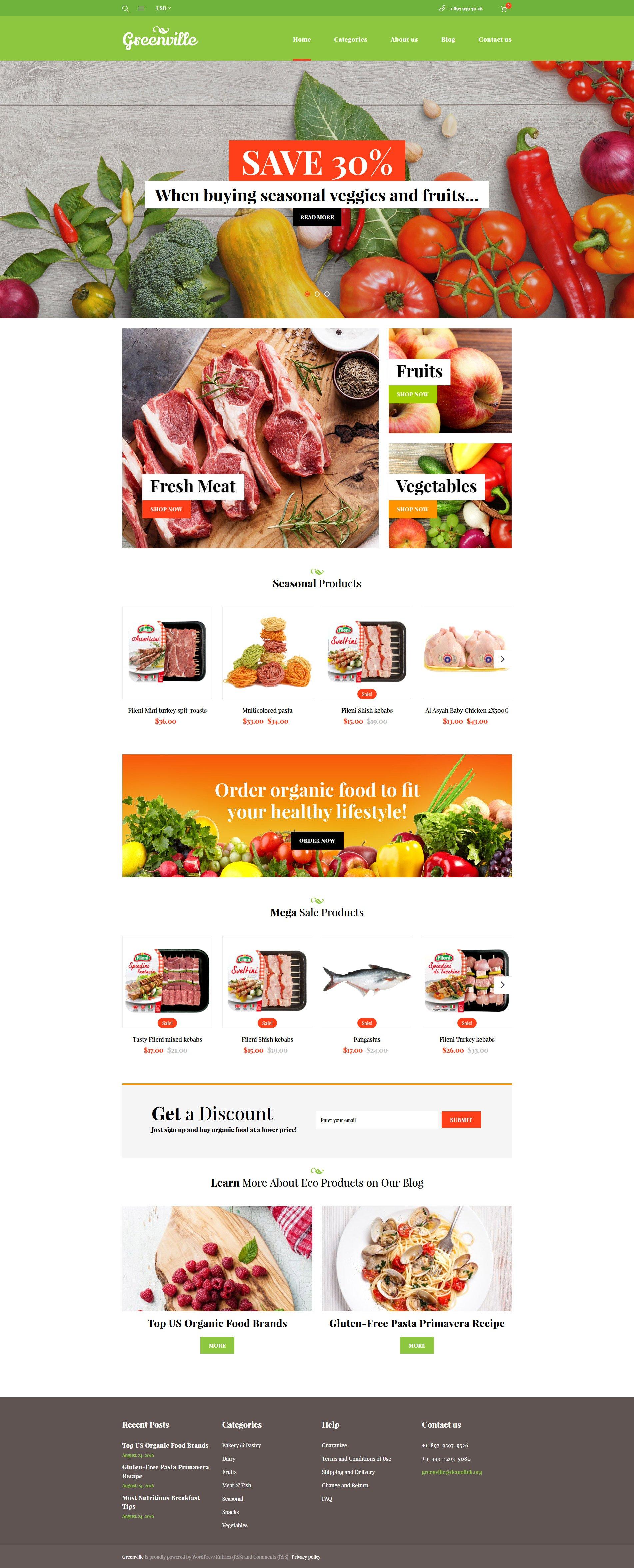 "Template WooCommerce Responsive #59047 ""Greenville - Organic Food Restaurant"""