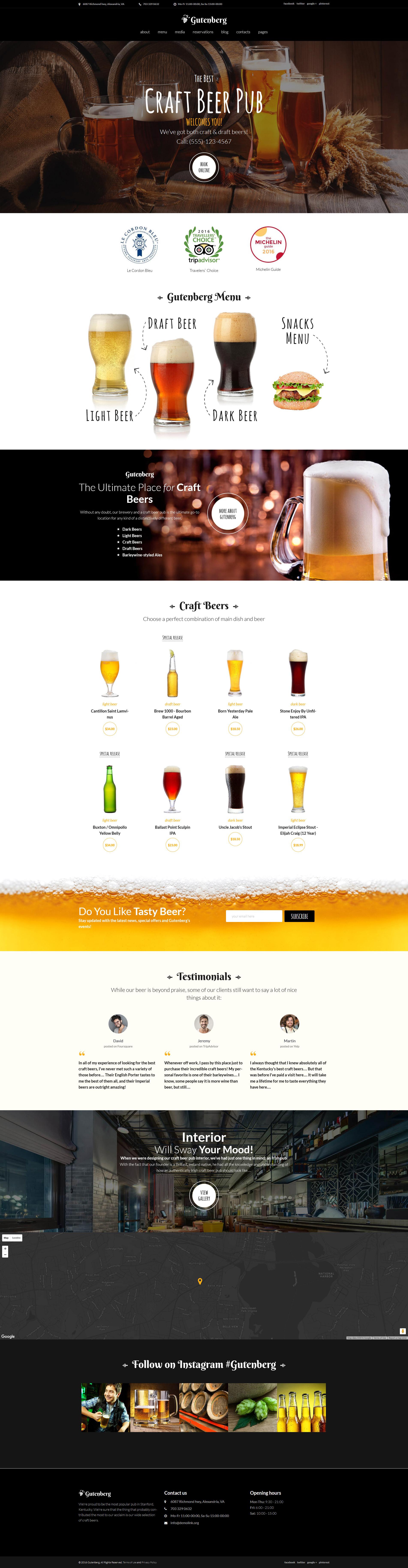 "Template WordPress Responsive #59005 ""GutenBerg - Beer Pub and Brewery"""
