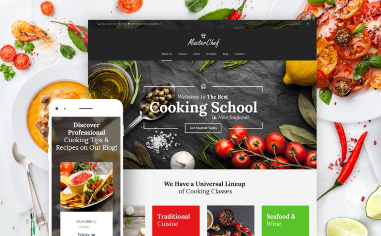 template wordpress responsive 59011 per un sito di scuola di cucina new screenshots big