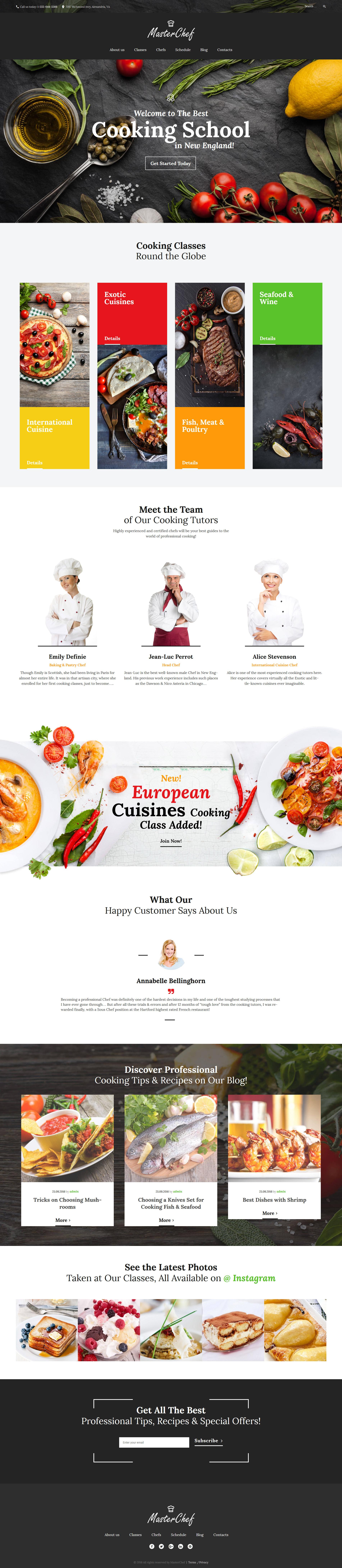 template wordpress responsive 59011 per un sito di scuola di cucina