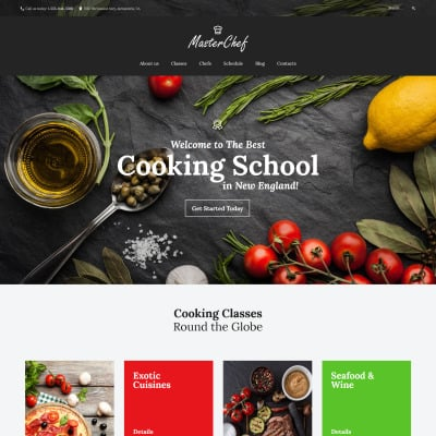 template wordpress responsive 59011 per un sito di scuola di cucina 59011 temi wordpress