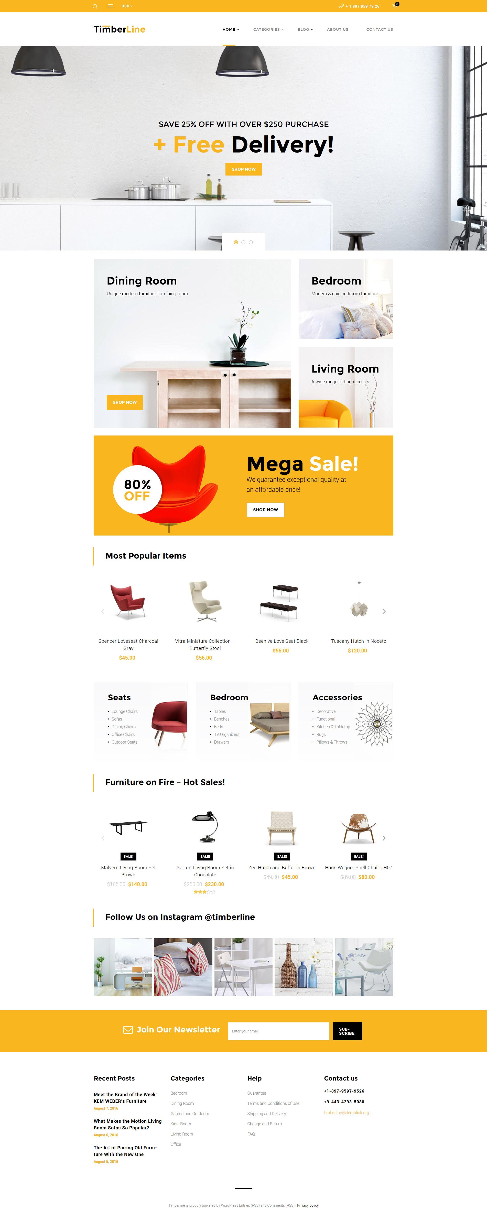"""Timberline - Furniture Store"" - адаптивний WooCommerce шаблон №59043 - скріншот"
