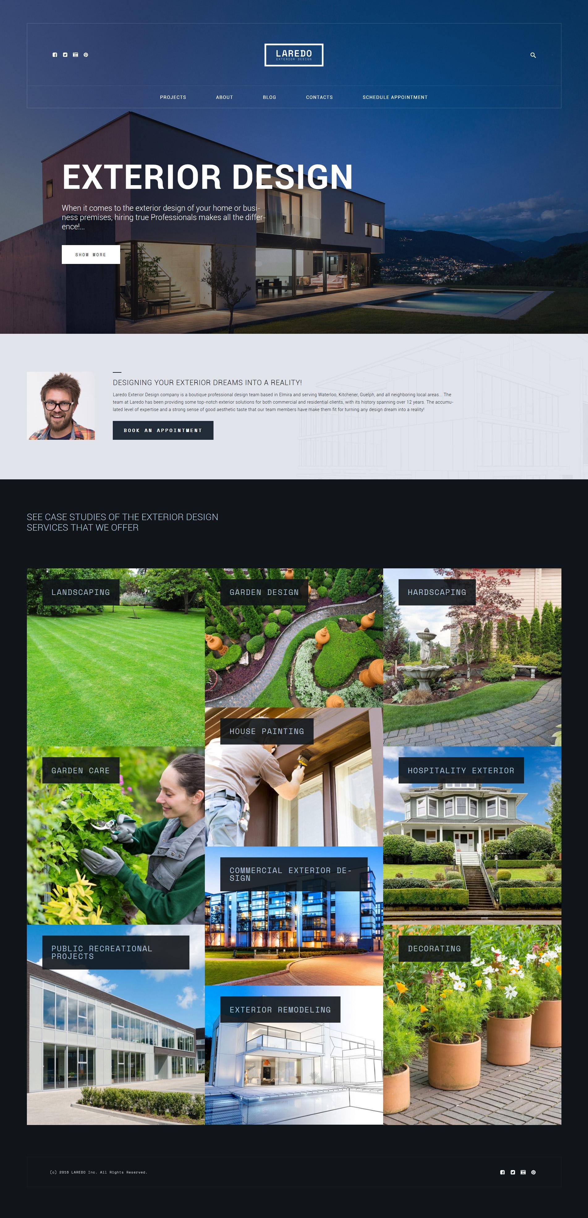 Шаблон Laredo для сайта о дизайне экстерьера #59023