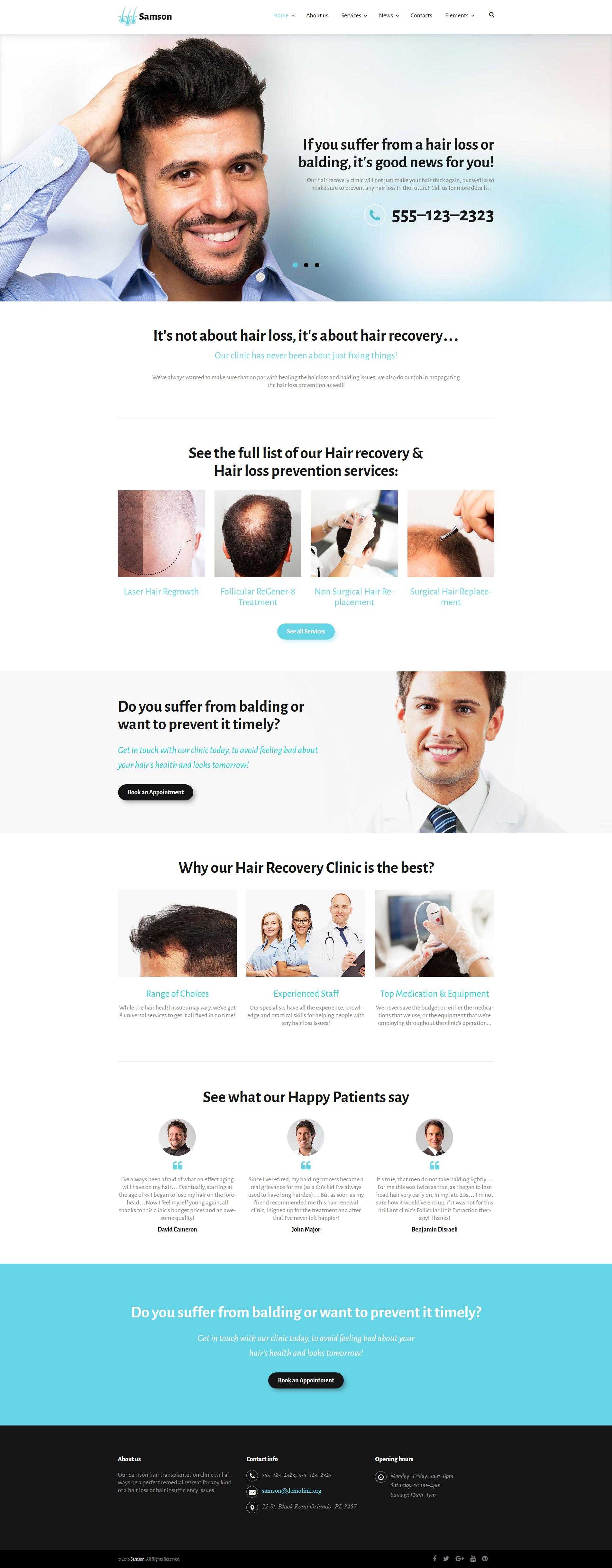 Шаблон Samson сайта на тему уход за волосами #59002