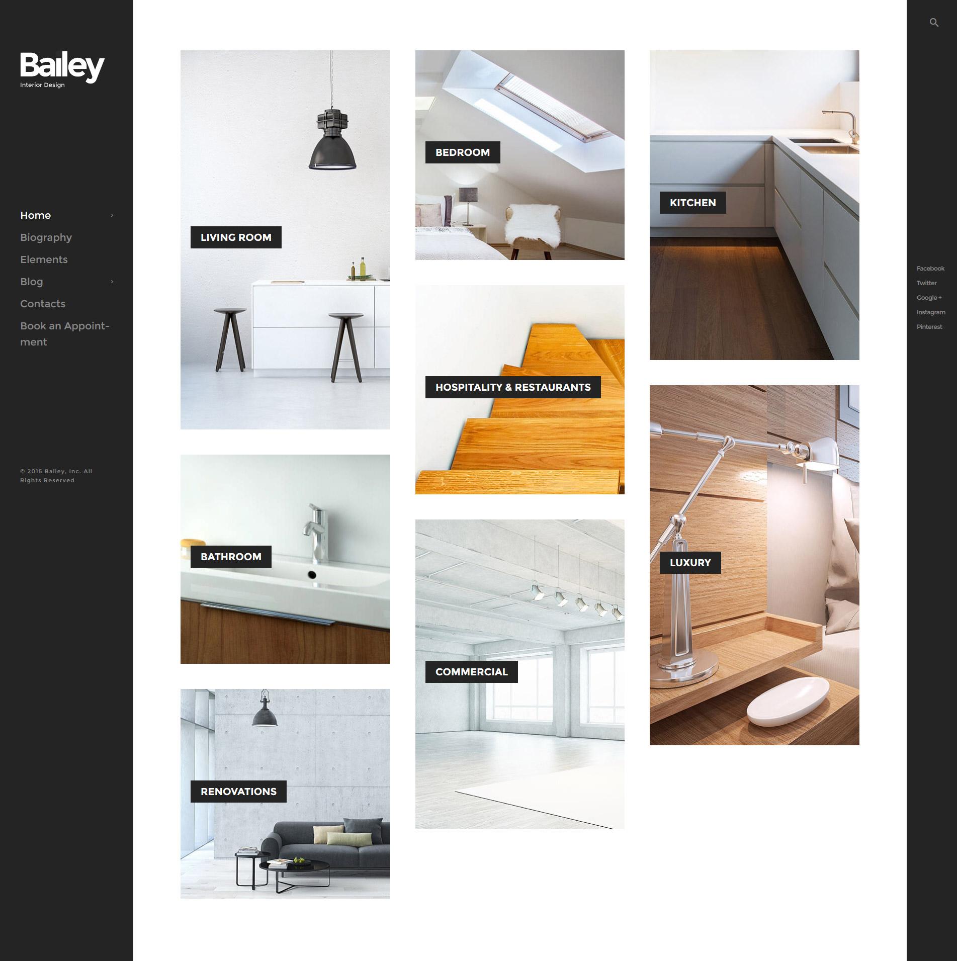 """WordPress Theme namens """"Bailey - Raumgestaltung und Möbel"""" #59022"""