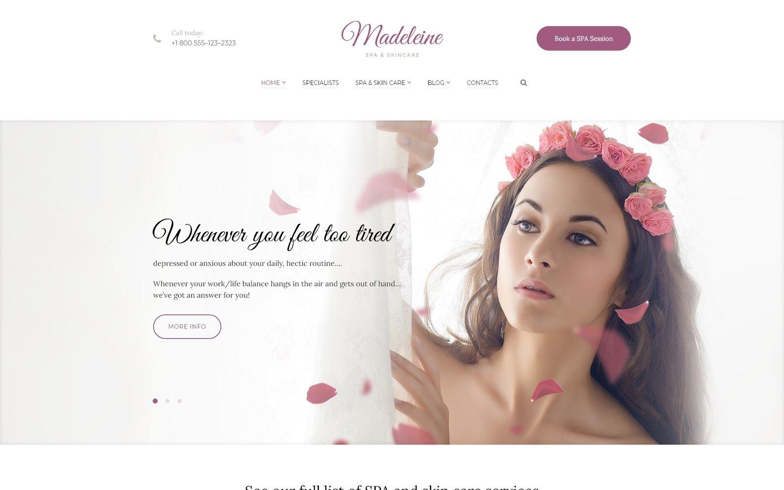 "WordPress Theme namens ""Madeleine - Spa Health & Skincare"" #59014 - Screenshot"