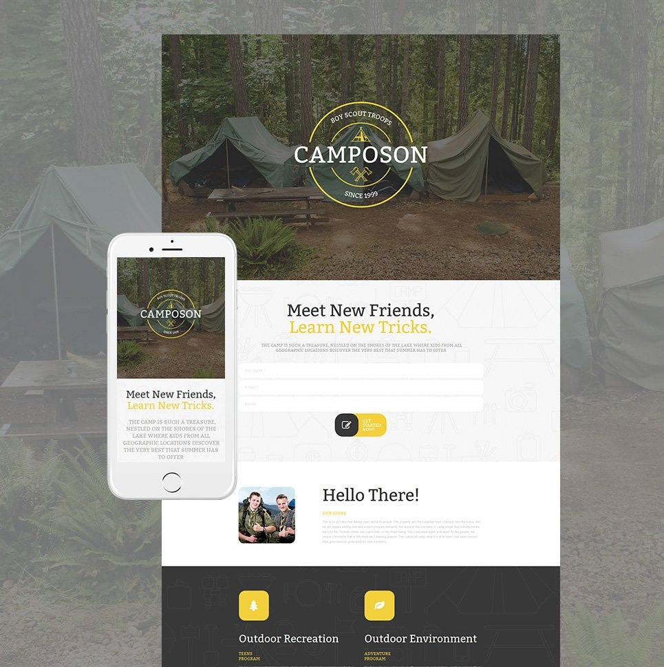 One-page template for camping websites