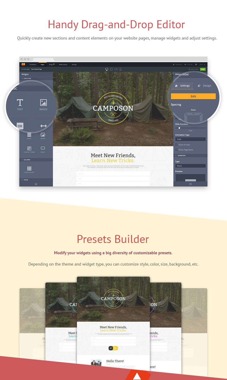 Summer Camp Responsive Moto CMS 3 Template
