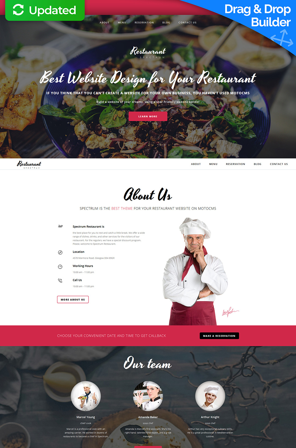 Responsive web template for food business