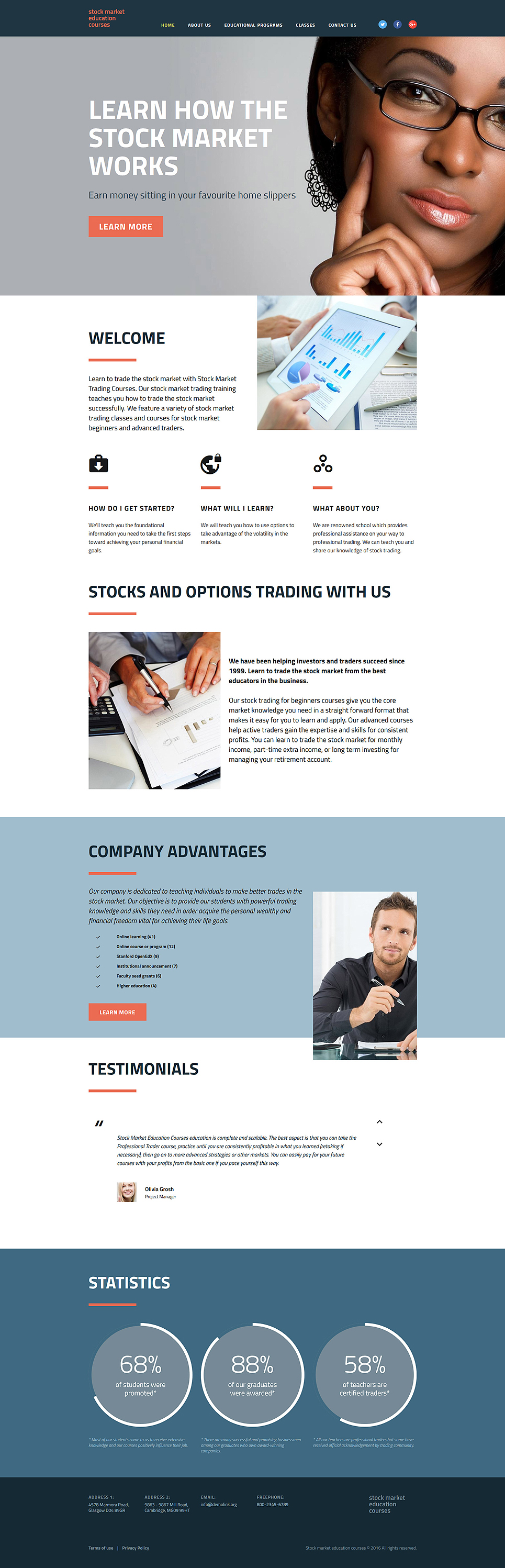 Stock Market Education Courses template illustration image