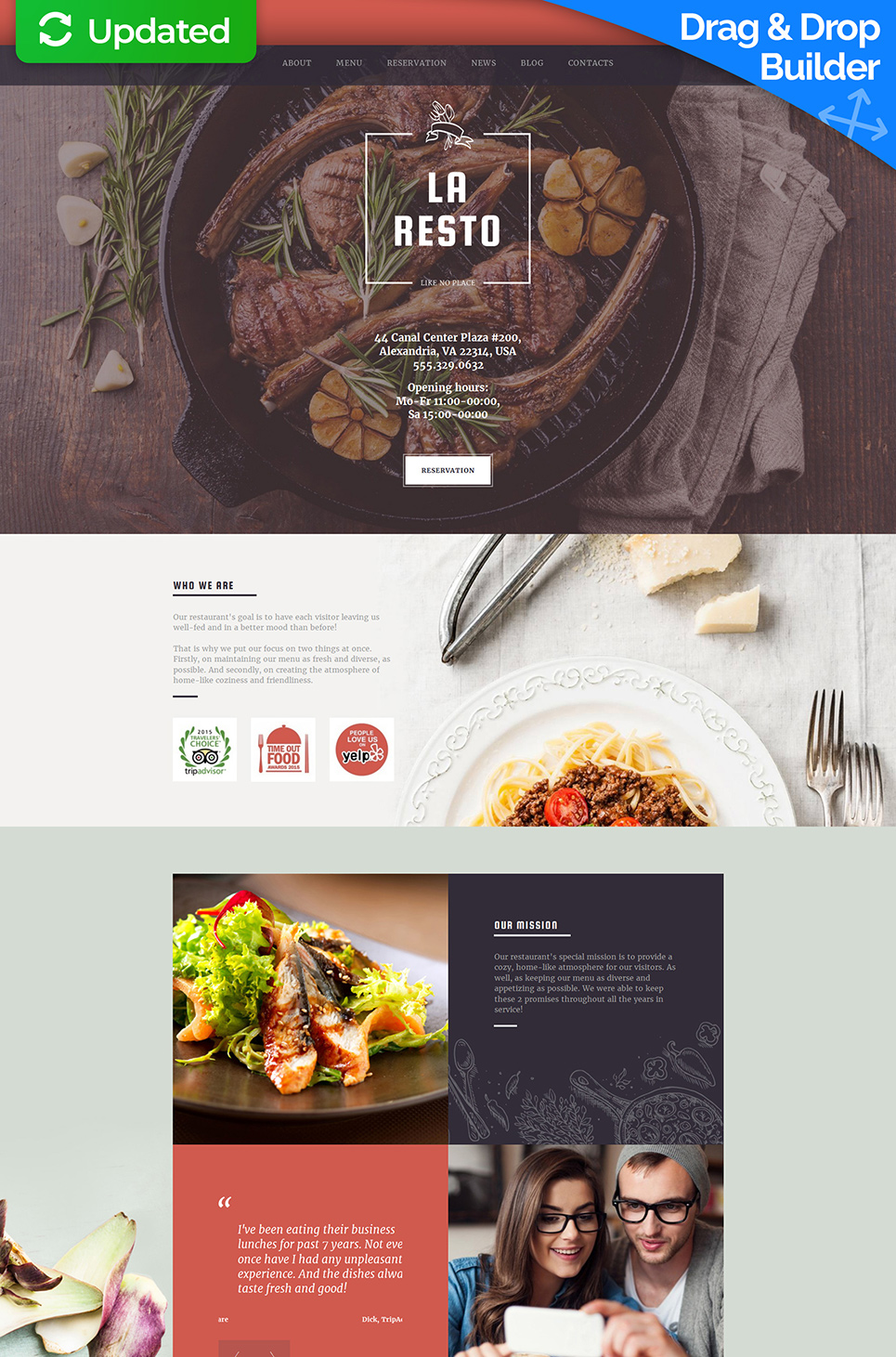 Responsive web template for eating house