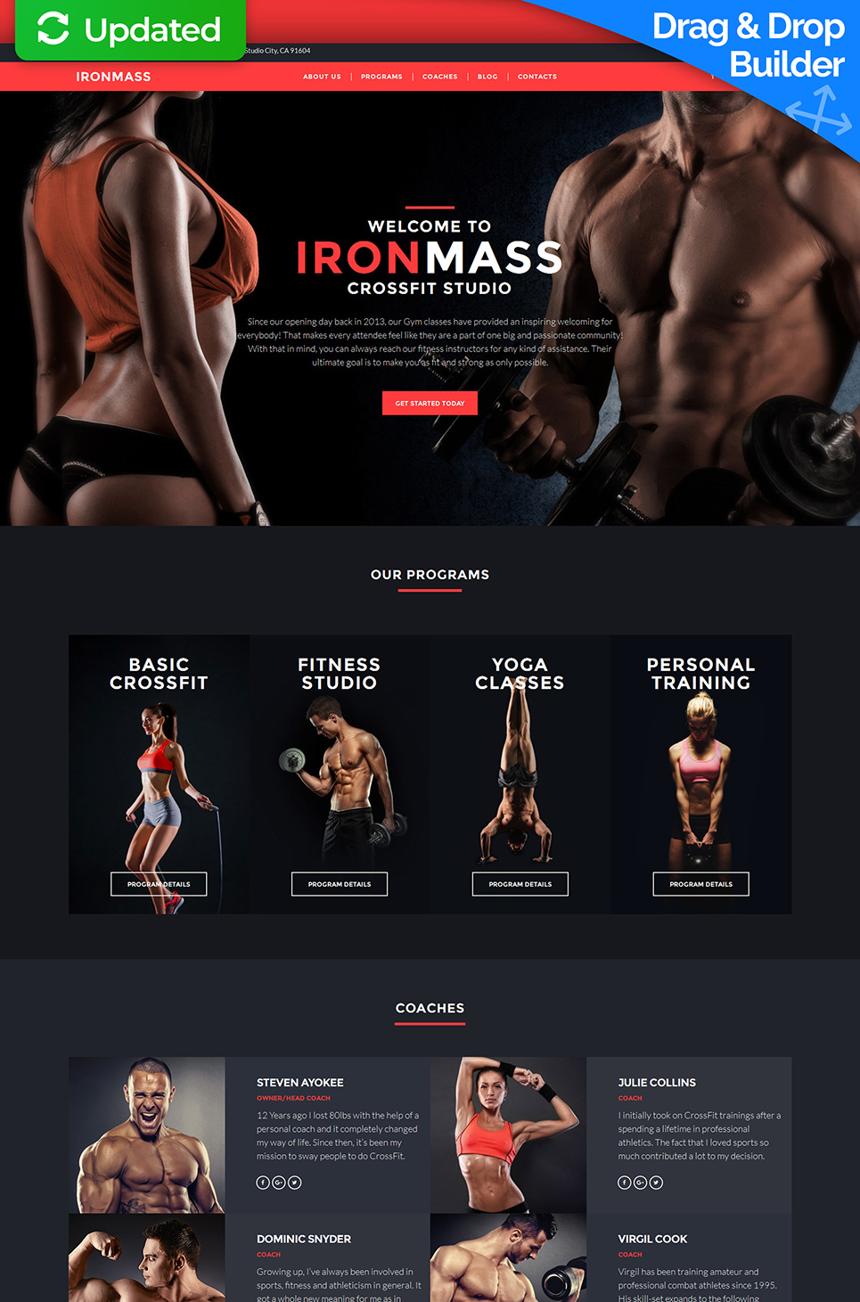 Red and black design for fitness club site