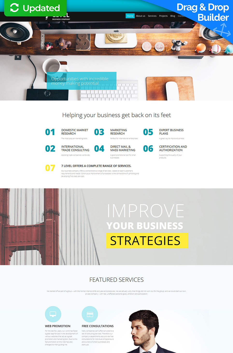 Creative design for business website