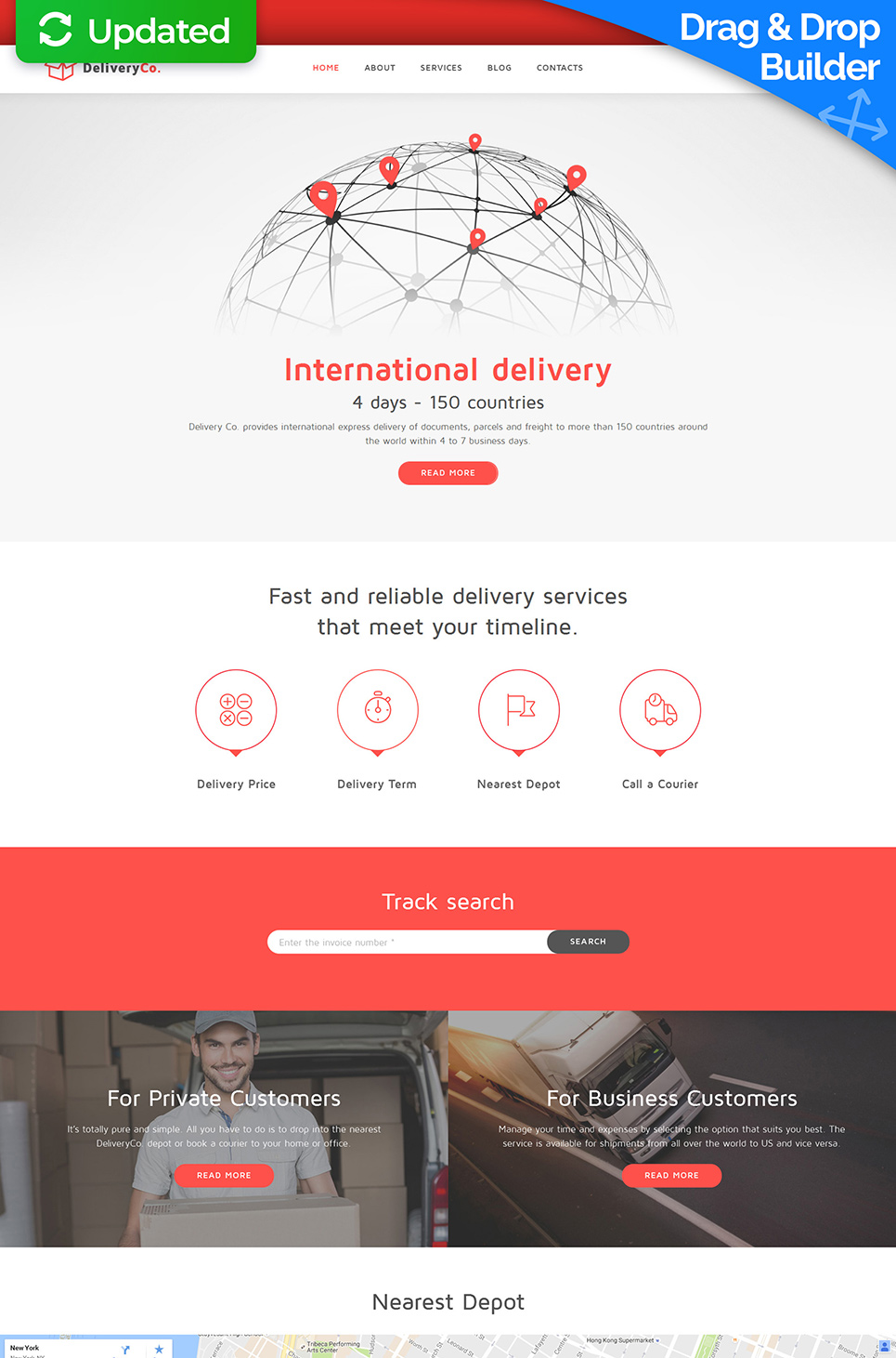 White and red design for maintenance website