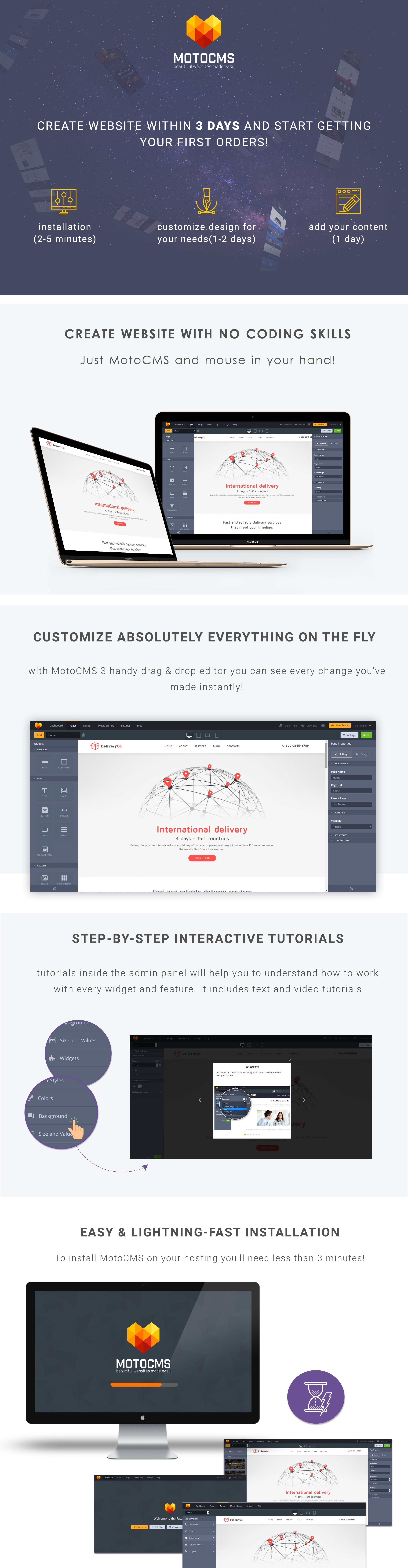 DeliveryCo - Parcel Delivery Moto CMS 3 Template