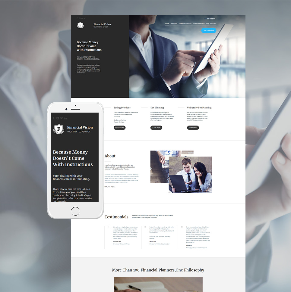 Responsive website for business