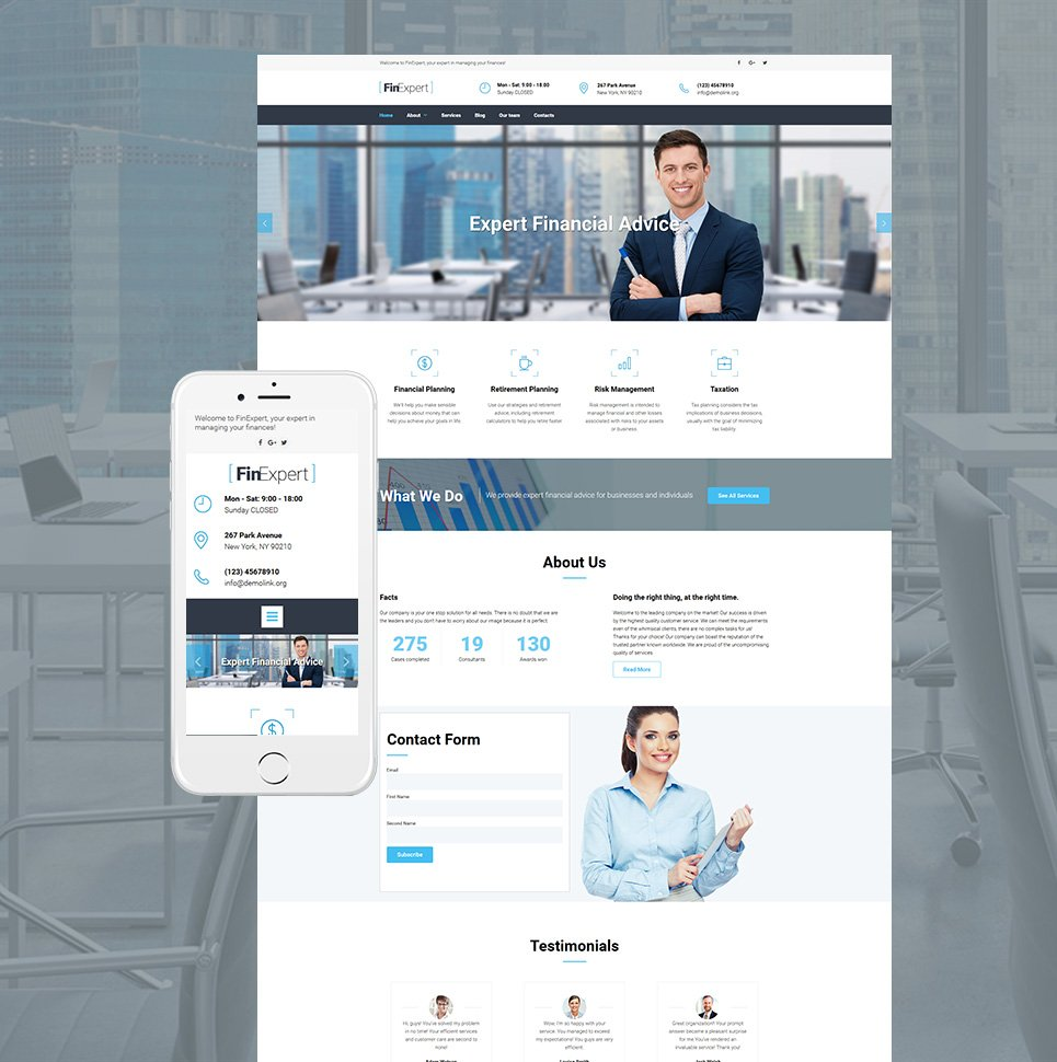 FinExpert Responsive Website Template - image