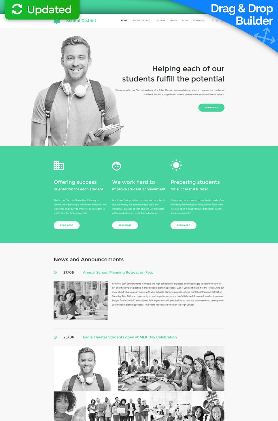 School District Responsive Website Template - image