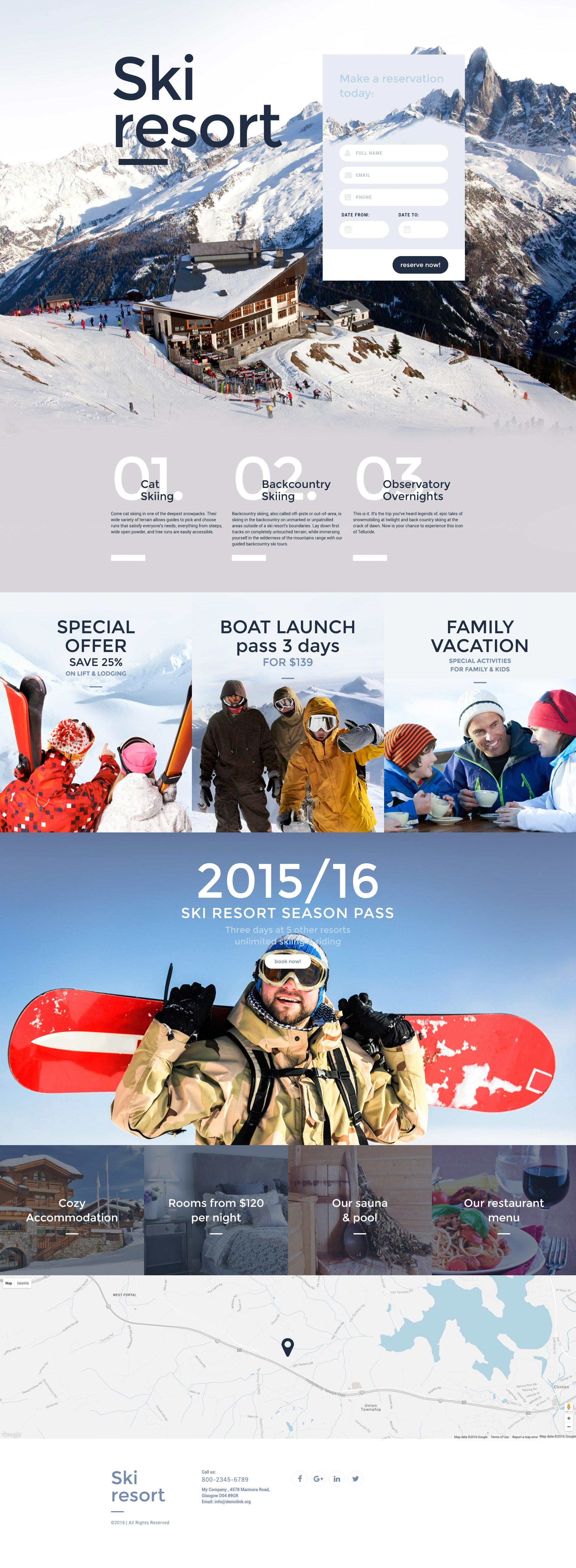 Адаптивний Шаблон цільової сторінки на тему гірські лижи №59100