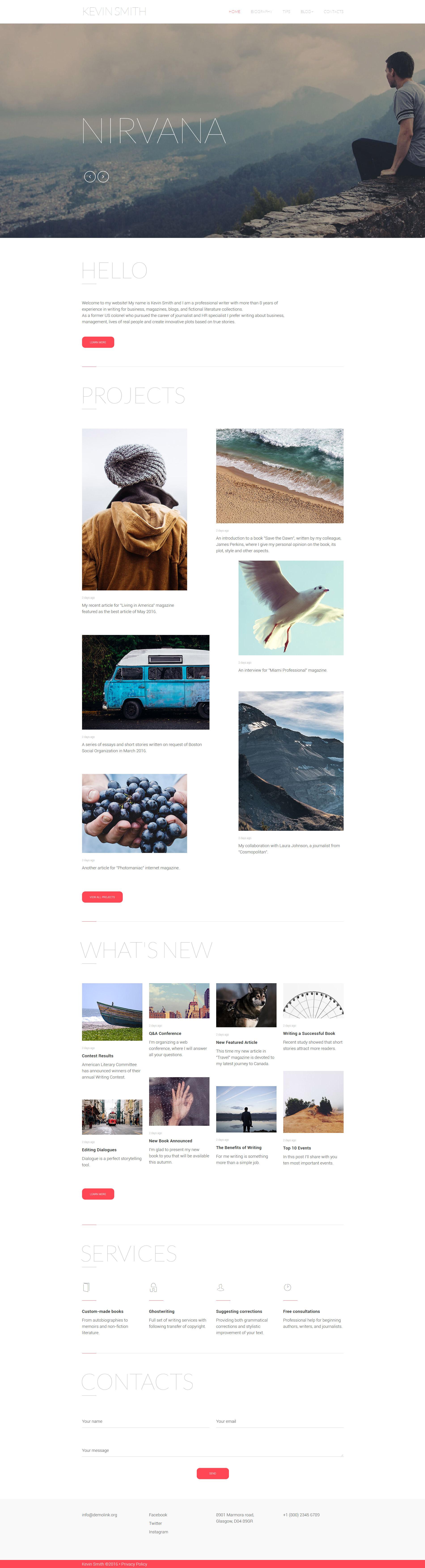 Адаптивний Шаблон сайту на тему письменник №59101 - скріншот