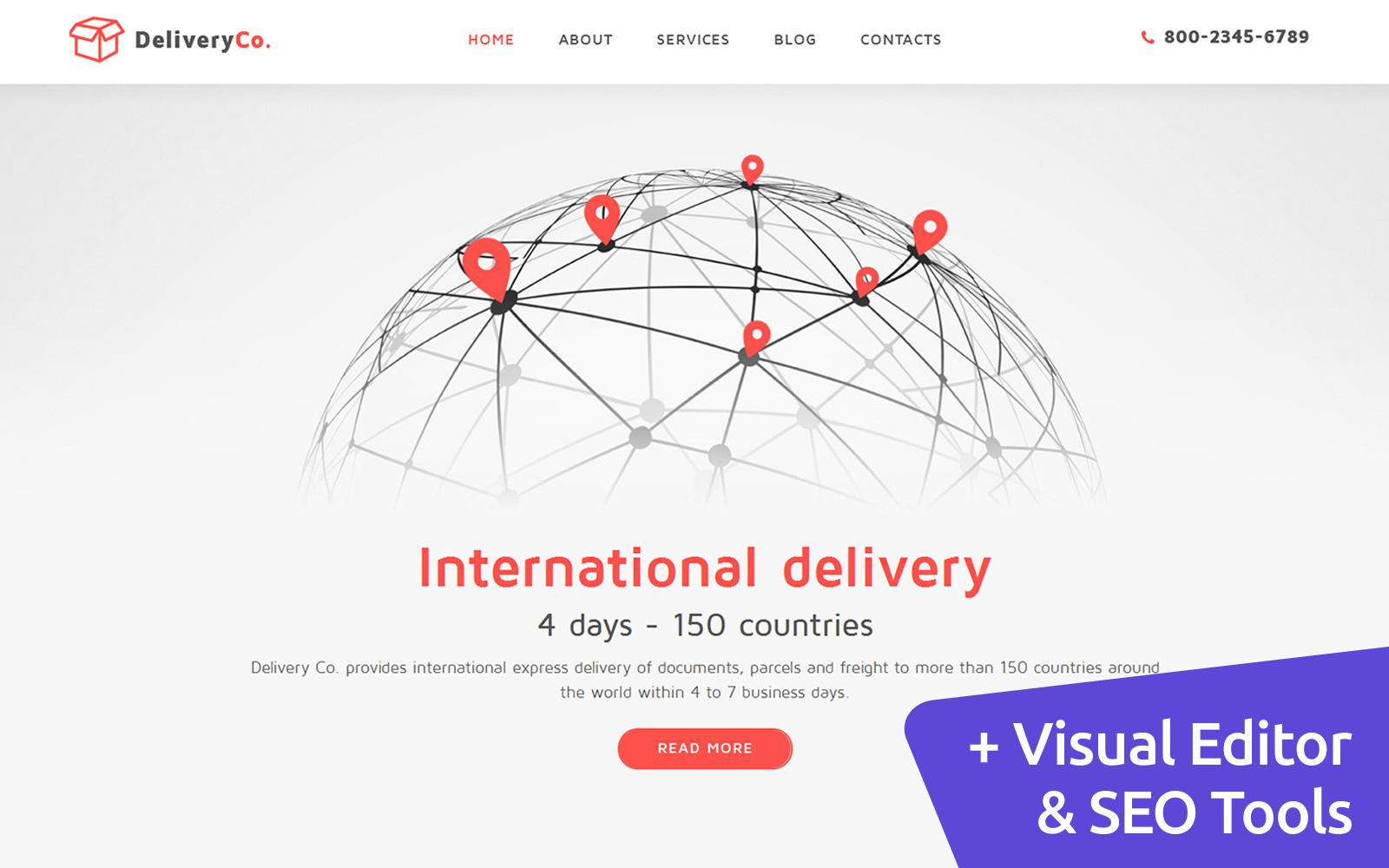 """""""DeliveryCo - Parcel Delivery"""" - адаптивний MotoCMS 3 шаблон №59146"""