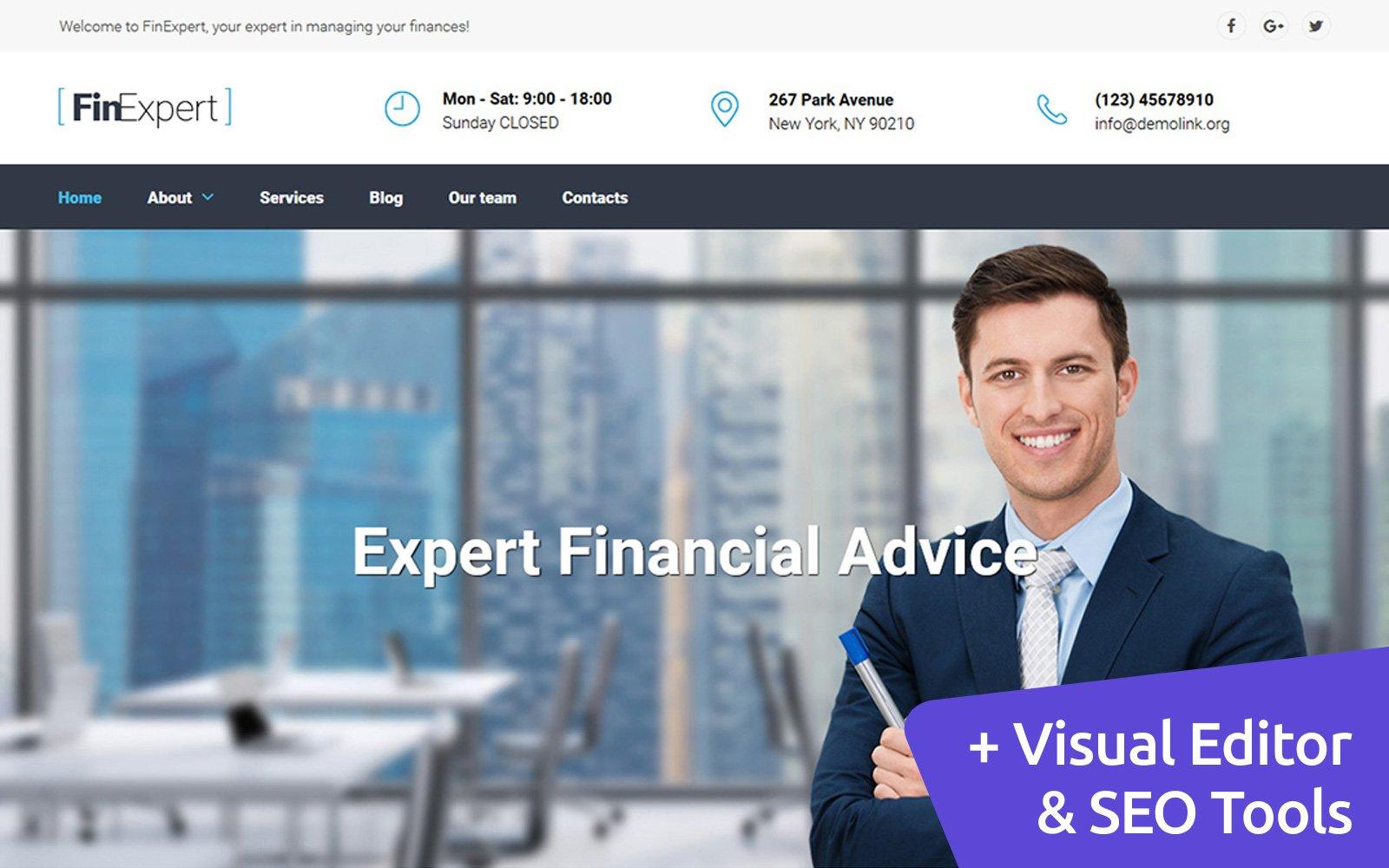 """Financial Advisors"" 响应式Moto CMS 3 模板 #59172"