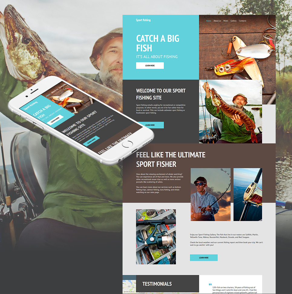 Fishing Moto CMS HTML Template New Screenshots BIG