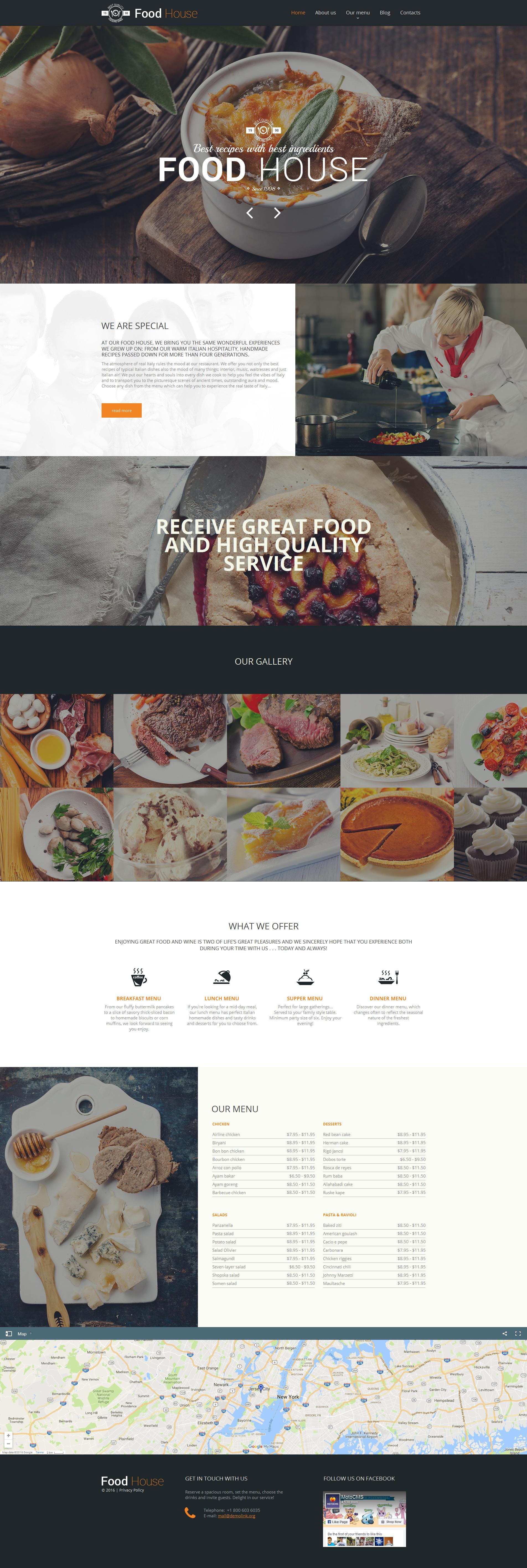 Modèle HTML pour Food & Drink Moto CMS