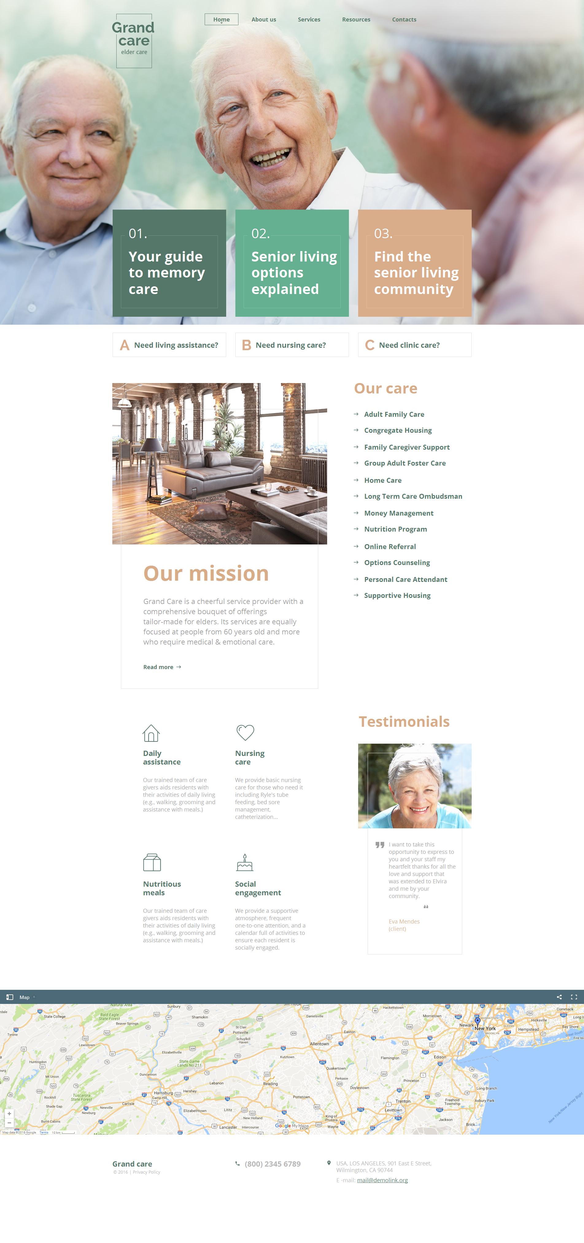 Modèle Moto CMS HTML Premium pour site de soins aux personnes âgées #59156