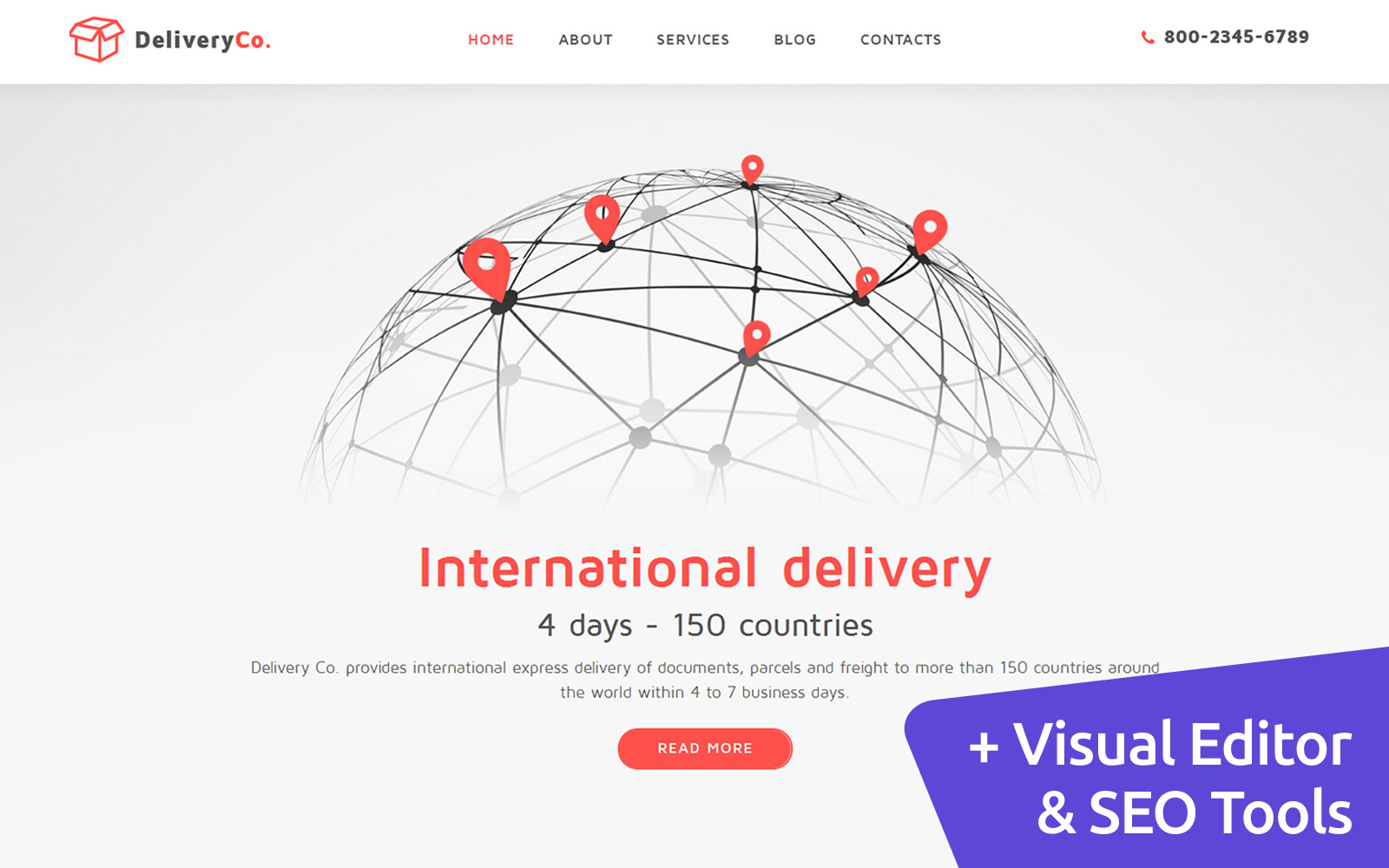 """Moto CMS 3 Template namens """"DeliveryCo - Parcel Delivery"""" #59146"""