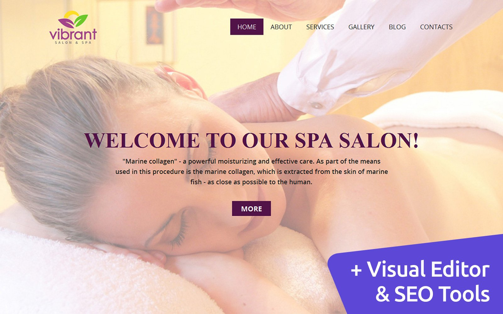 "Moto CMS 3 Template namens ""Skincare & Massage Salon"" #59140"