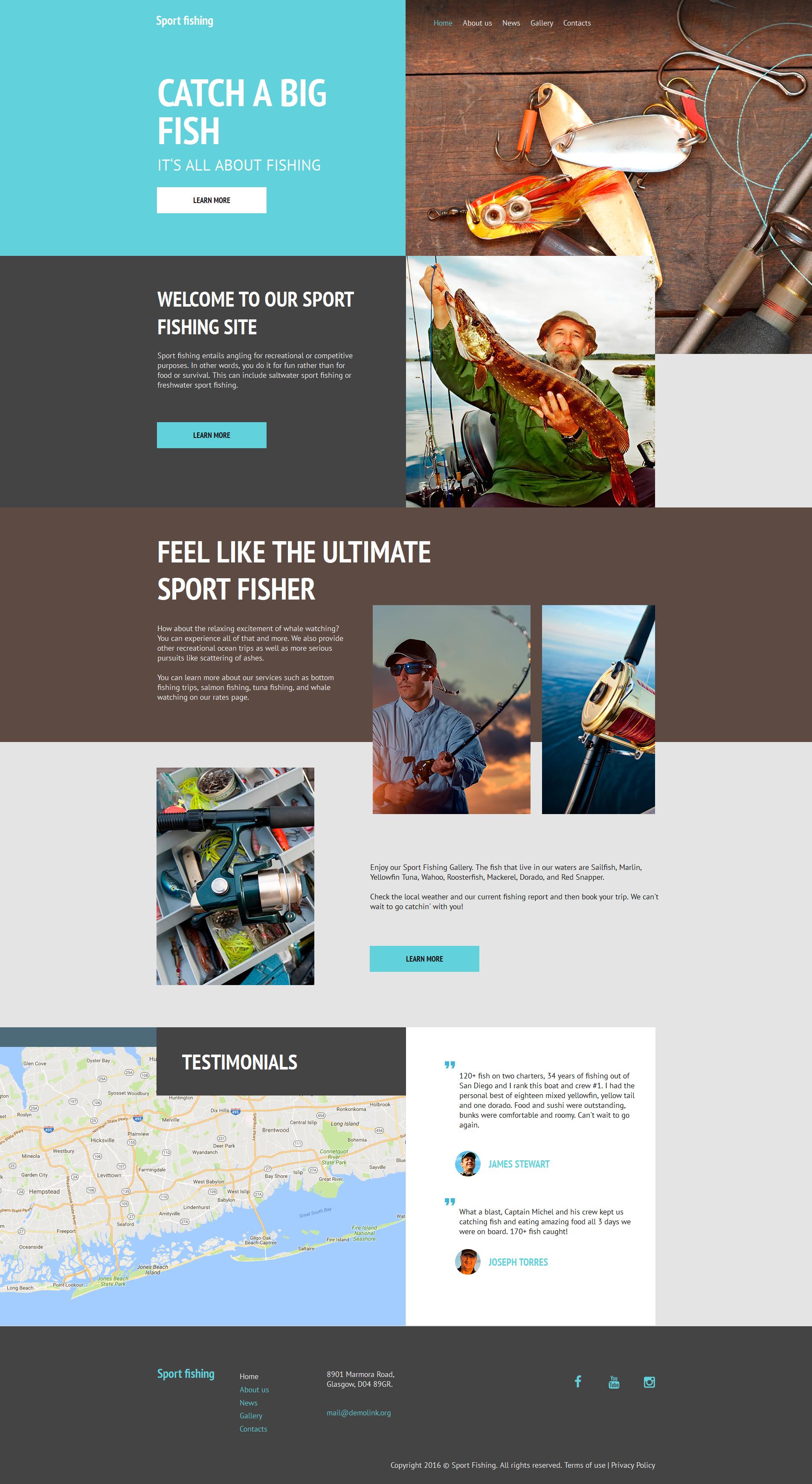 Plantilla Moto CMS HTML #59161 para Sitio de Pesca