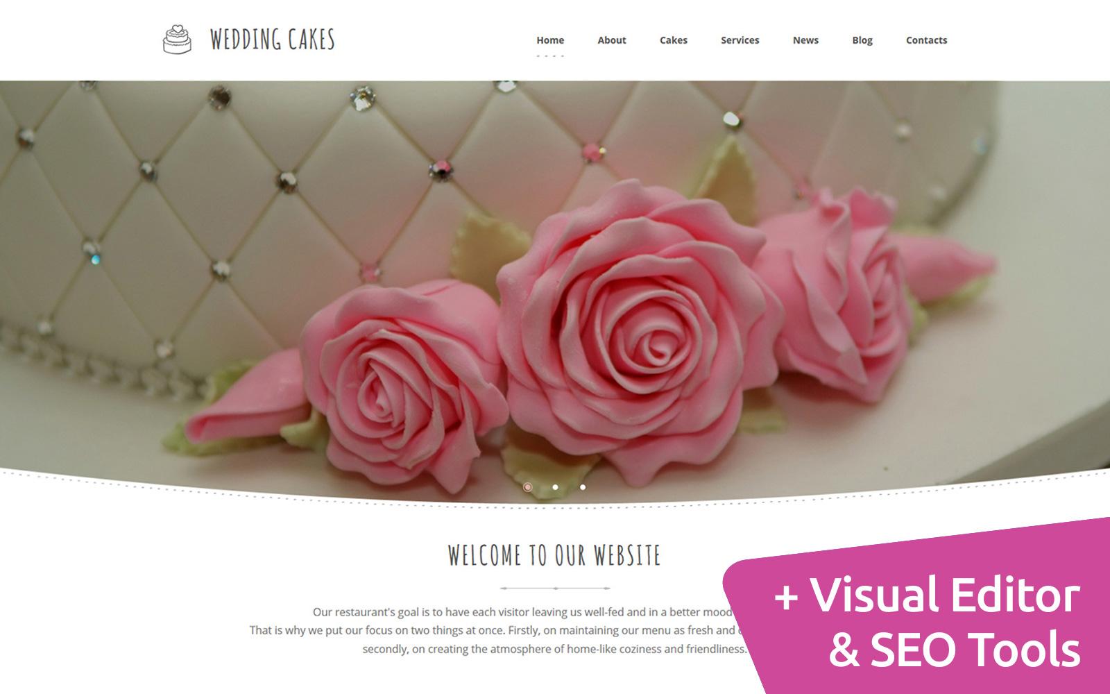 Responsivt Wedding Cakes Moto CMS 3-mall #59138